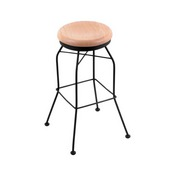3020 Swivel Stool with Black Wrinkle Finish and Natural Oak Seat