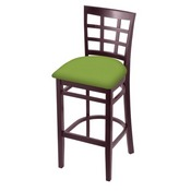 3130 Stool with Dark Cherry Finish and Canter Kiwi Green Seat