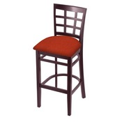 3130 Stool with Dark Cherry Finish and Graph Poppy Seat