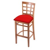 3130 Stool with Medium Finish and Canter Red Seat