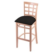 3130 Stool with Natural Finish and Canter Espresso Seat