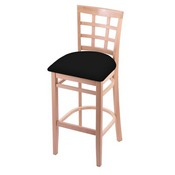 3130 Stool with Natural Finish and Black Vinyl Seat