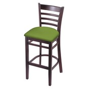 3140 Stool with Dark Cherry Finish and Canter Kiwi Green Seat