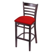 3140 Stool with Dark Cherry Finish and Canter Red Seat
