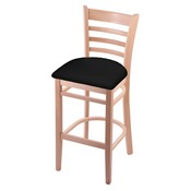 3140 Stool with Natural Finish and Black Vinyl Seat