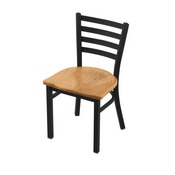 "400 Jackie 18"" Chair with Black Wrinkle Finish and Medium Oak Seat"