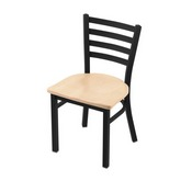 """400 Jackie 18"""" Chair with Black Wrinkle Finish and Natural Maple Seat"""