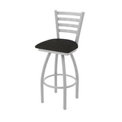 410 Jackie Swivel Stool with Anodized Nickel Finish and Canter Espresso Seat
