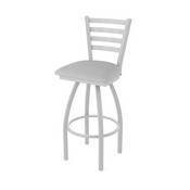 410 Jackie Swivel Stool with Anodized Nickel Finish and Canter Folkstone Grey Seat