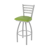 410 Jackie Swivel Stool with Anodized Nickel Finish and Canter Kiwi Green Seat