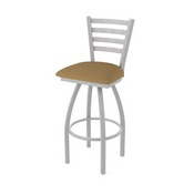 410 Jackie Swivel Stool with Anodized Nickel Finish and Canter Saddle Seat