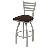 410 Jackie Swivel Stool with Anodized Nickel Finish and Rein Coffee Seat