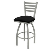 410 Jackie Swivel Stool with Anodized Nickel Finish and Black Vinyl Seat
