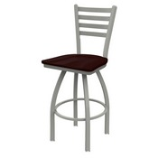 410 Jackie Swivel Stool with Anodized Nickel Finish and Dark Cherry Oak Seat