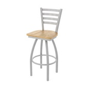 410 Jackie Swivel Stool with Anodized Nickel Finish and Natural Oak Seat