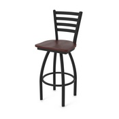 "410 Jackie 36"" Swivel Bar Stool with Black Wrinkle Finish and Dark Cherry Oak Seat"