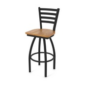 "410 Jackie 36"" Swivel Bar Stool with Black Wrinkle Finish and Medium Oak Seat"
