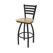 "410 Jackie 36"" Swivel Bar Stool with Black Wrinkle Finish and Natural Maple Seat"