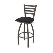 410 Jackie Swivel Stool with Bronze Finish and Black Vinyl Seat