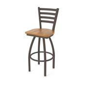 410 Jackie Swivel Stool with Bronze Finish and Medium Oak Seat