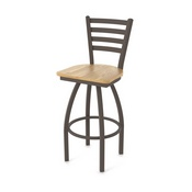 410 Jackie Swivel Stool with Bronze Finish and Natural Oak Seat