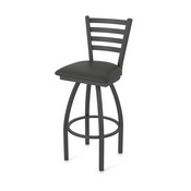 410 Jackie Swivel Stool with Pewter Finish and Canter Iron Seat