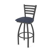 410 Jackie Swivel Stool with Pewter Finish and Graph Anchor Seat
