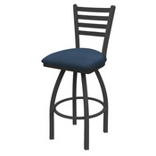 410 Jackie Swivel Stool with Pewter Finish and Rein Bay Seat