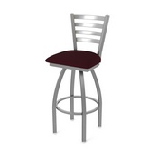 410 Jackie Swivel Stool with Stainless Finish and Canter Bordeaux Seat