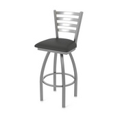 410 Jackie Swivel Stool with Stainless Finish and Canter Iron Seat