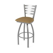 410 Jackie Swivel Stool with Stainless Finish and Canter Saddle Seat
