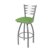 410 Jackie Swivel Stool with Stainless Finish and Graph Parrot Seat