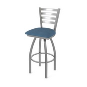 410 Jackie Swivel Stool with Stainless Finish and Rein Bay Seat