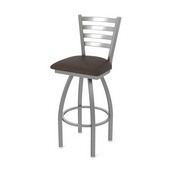 410 Jackie Swivel Stool with Stainless Finish and Rein Coffee Seat