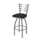 410 Jackie Swivel Stool with Stainless Finish and Black Vinyl Seat