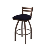 411 Jackie Low Back Swivel Stool with Bronze Finish and Canter Twilight Seat