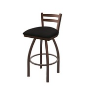 411 Jackie Low Back Swivel Stool with Bronze Finish and Canter Espresso Seat