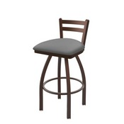 411 Jackie Low Back Swivel Stool with Bronze Finish and Canter Folkstone Grey Seat