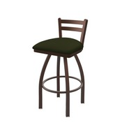 411 Jackie Low Back Swivel Stool with Bronze Finish and Canter Pine Seat