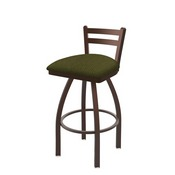411 Jackie Low Back Swivel Stool with Bronze Finish and Graph Parrot Seat