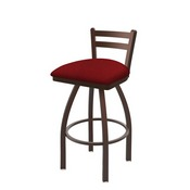 411 Jackie Low Back Swivel Stool with Bronze Finish and Graph Ruby Seat