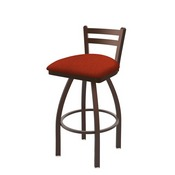411 Jackie Low Back Swivel Stool with Bronze Finish and Graph Poppy Seat