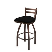 411 Jackie Low Back Swivel Stool with Bronze Finish and Black Vinyl Seat