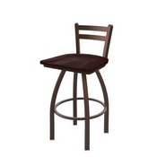 411 Jackie Low Back Swivel Stool with Bronze Finish and Dark Cherry Maple Seat