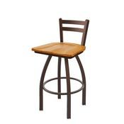 411 Jackie Low Back Swivel Stool with Bronze Finish and Medium Oak Seat