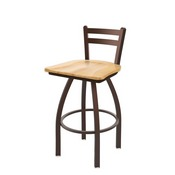 411 Jackie Low Back Swivel Stool with Bronze Finish and Natural Maple Seat