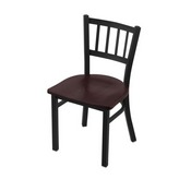 "610 Contessa 18"" Chair with Black Wrinkle Finish and Dark Cherry Oak Seat"