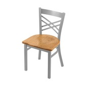 "620 Catalina 18"" Chair with Anodized Nickel Finish and Medium Oak Seat"