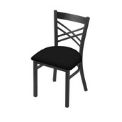 """620 Catalina 18"""" Chair with Pewter Finish and Black Vinyl Seat"""
