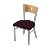 """630 Voltaire 18"""" Chair with Anodized Nickel Finish, Medium Back, and Canter Bordeaux Seat"""